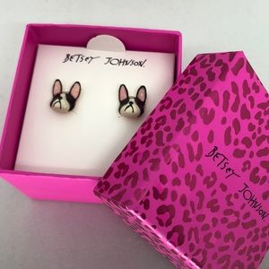 Betsey Johnson Boston Terrier Dog Earrings